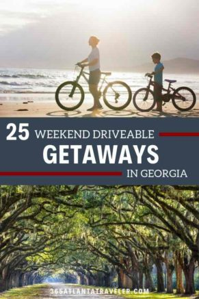 There are so many wonderful vacation destinations that sometimes we forget the ones in our own backyard. There are lots of amazing weekend getaways in Ga. Whether it's hunting alligators, digging for gold, riding into the sunset, watching a show or just spending a lazy day on the beach digging a hole, Georgia has it all. Need some vacation ideas for quick weekend getaways? Here are 25+ fabulous family weekend getaways. The best part, they are all around five hours or less from Atlanta.