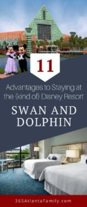 "Planning your vacation to WDW? Trying to decide where to stay? We've stayed at two resorts - one official Disney hotel (Coronado Springs) and one ""mostly"" Disney hotel (Dolphin Hotel) - and I can attest that both are amazing, with incredible perks. Don't discount the Swan and Dolphin Resort because it's not ""official."" We stayed at the Dolphin Hotel and it was AMAZING. If we head to Disney again, this is where we'll park our tired heads. Here are 11 reasons why!"